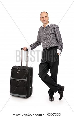 Young Businessman With Luggage Bag
