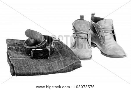 Black & White Fashion Trend - Jeans, Leather Shoes, Leather Belt With Buckle On White Background