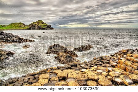 View Of The Giant's Causeway, A Unesco Heritage Site In Northern Ireland