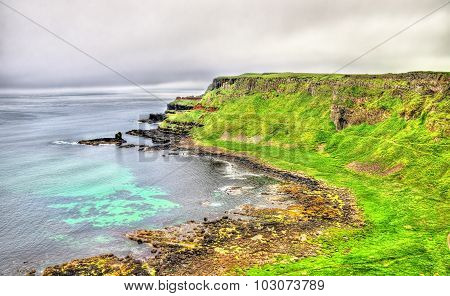Rugged Coastline Of Ireland Island Near Ballintoy