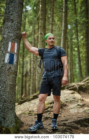 Full Length Portrait Of A Hiker In The Woods