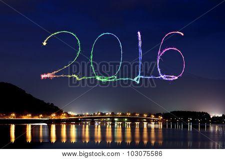 2016 New Year Fireworks Celebrating Over Lake Kawaguchiko