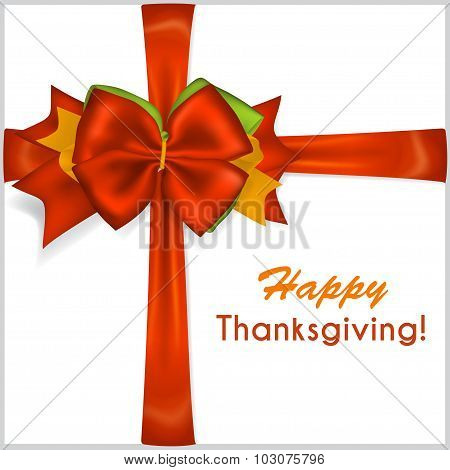 Thanksgiving Red Bow With Crosswise Ribbons