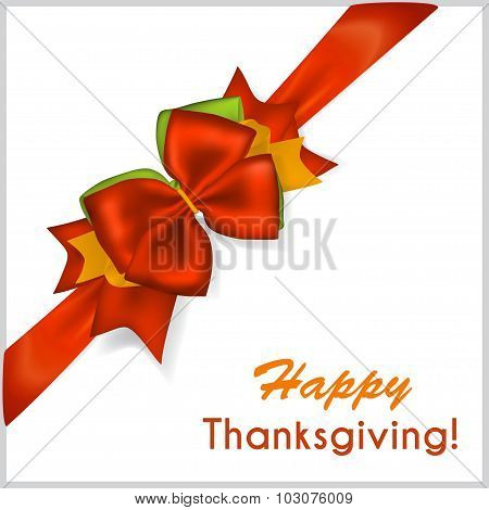 Thanksgiving Red Bow With Diagonally Ribbon