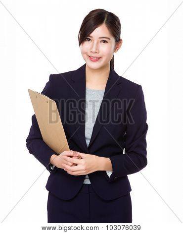 Businesswoman hold with folder board