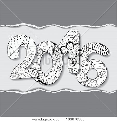 Vector 2016 Happy New Year Background With Patch And Torn Paper.