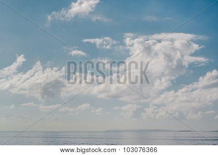 Blue Cloudy Sky And Horizon Over The Sea. Ibiza