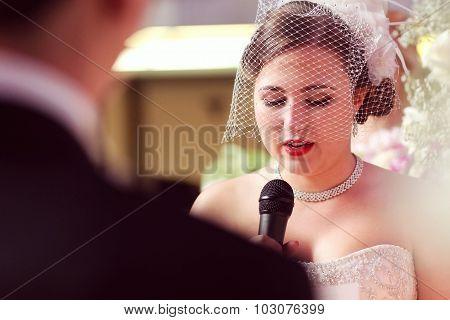 Joyful Bride Speaks At Her Wedding On The Microphone