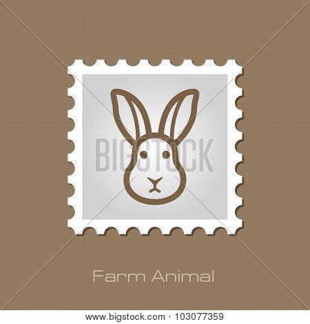Rabbit stamp. Animal head vector illustration