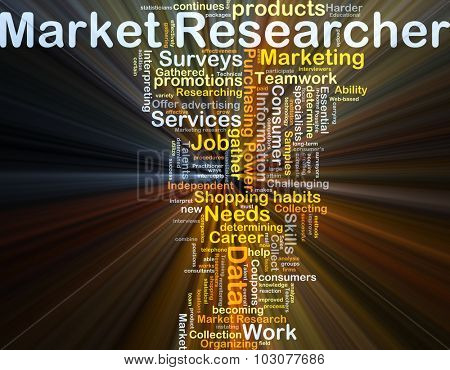 Background concept wordcloud illustration of market researcher glowing light