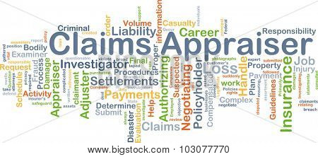 Background concept wordcloud illustration of claim appraiser