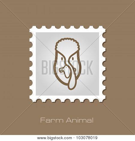 Turkey stamp. Animal head vector illustration