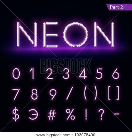 Realistic Neon Alphabet. Glowing Font. Vector Format Part 2