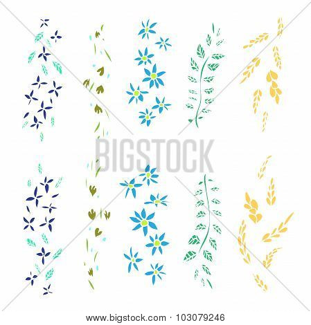 Hand drawn floral vector brushes.