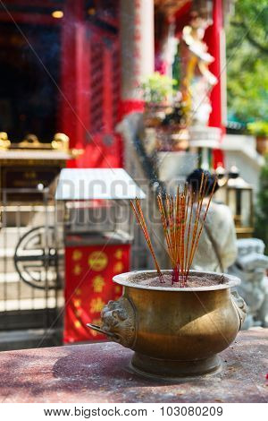 Incense sticks at Chinese temple in Hong Kong