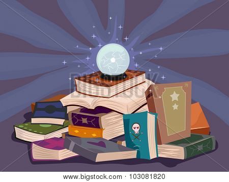 Illustration of a Glowing Crystal Ball Resting on a Pile of Books