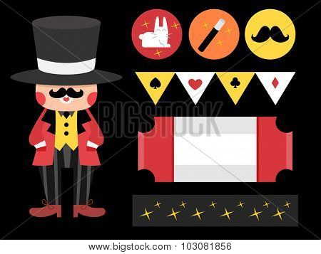 Illustration Featuring Party Printables with a Magic Theme
