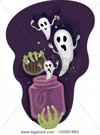 Illustration of a Hand Releasing a Jar Full of Ghosts