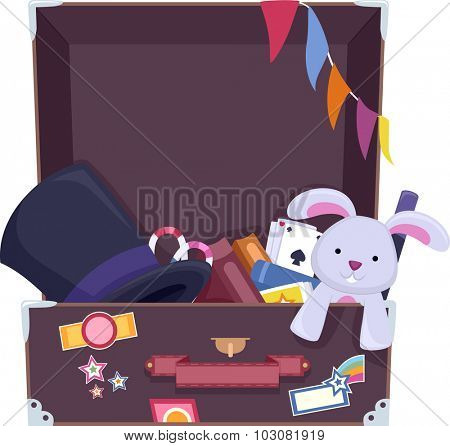 Illustration of a Suitcase Filled with Things Commonly Used by Magicians