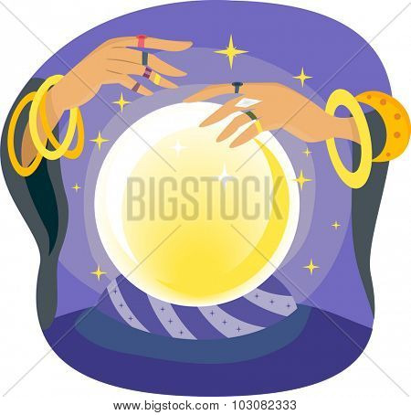 Illustration of a Gypsy Manipulating a Crystal Ball