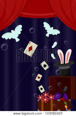 Illustration of Storage Chest Filled with Stage Props Used to Perform Magic Tricks