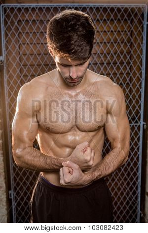 Man with clenched fist at the gym