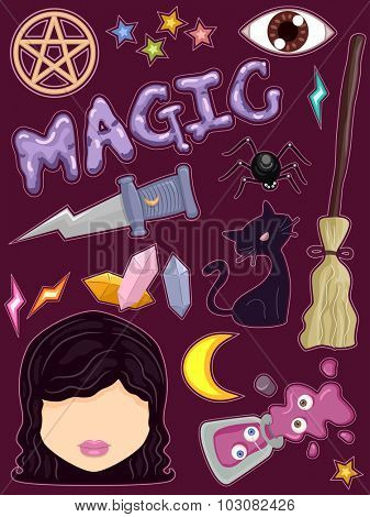 Whimsical Illustration of Ready to Print Stickers Featuring Witchcraft Related Items