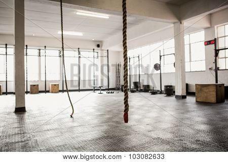 Exercise ropes hanging and equipment at the gym