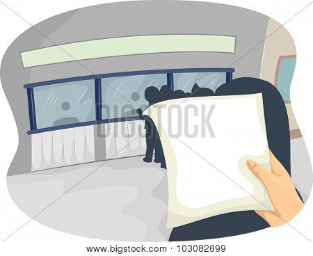 Illustration of a Hand Examining a Document While Queuing Up