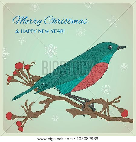 Christmas greeting card with bird sitting on twigs