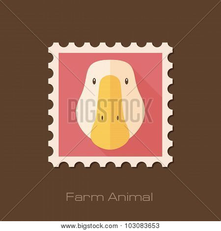 Goose flat stamp. Animal head vector illustration
