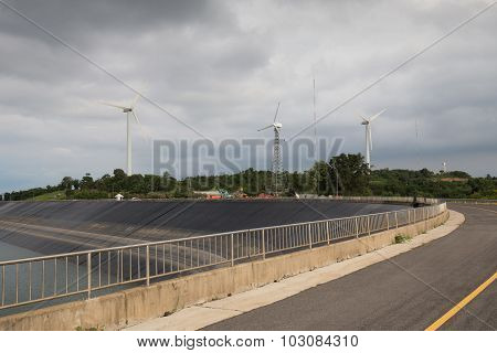 Wind Turbine Generating Electricity On Lam Takong Reservoir Dam