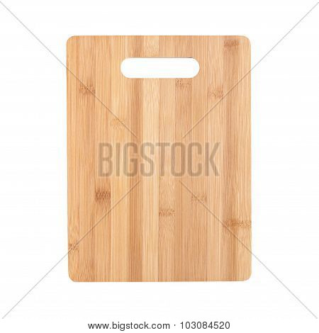Cutting Board Made Of Bamboo Isolated On White