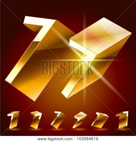 3D vector deluxe alphabet of randomly rotated thin golden symbols. All symbols in set have 8 random points of view. Number 7