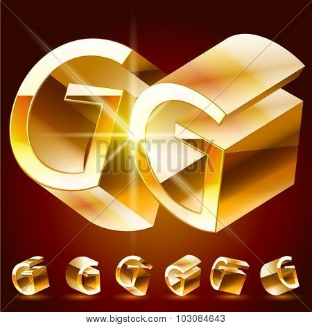 3D vector deluxe alphabet of randomly rotated thin golden symbols. All symbols in set have 8 random points of view. Letter G