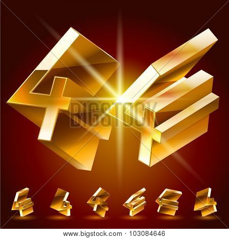 3D vector deluxe alphabet of randomly rotated thin golden symbols. All symbols in set have 8 random points of view. Number 4