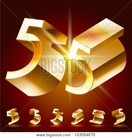 3D vector deluxe alphabet of randomly rotated thin golden symbols. All symbols in set have 8 random points of view. Number 5