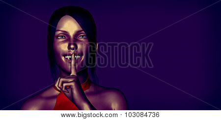Horror and Creepy Background with Vampire Woman Art