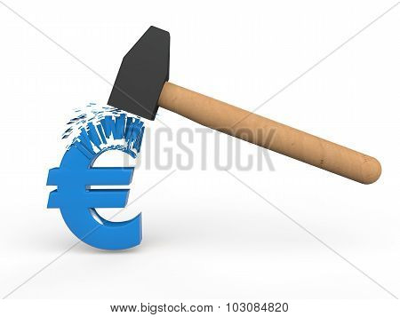 3d hammer destroying Euro symbol