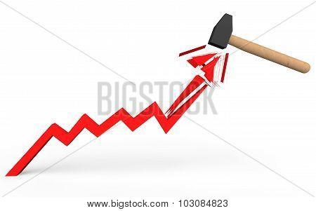 3d hammer breaking rising arrow