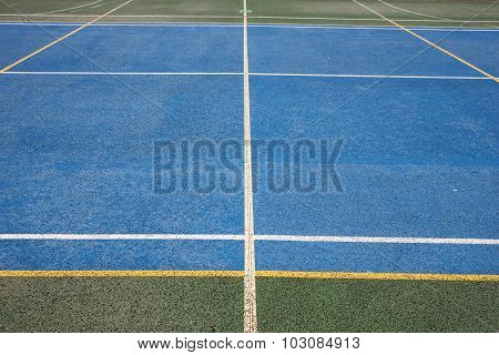 Blue Tartan race track with lines