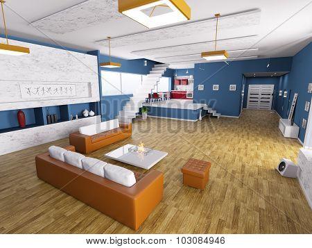 Interior Of Modern Apartment 3D Render