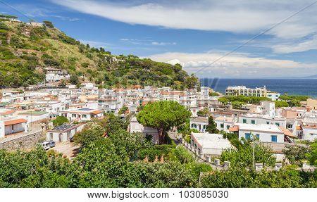 Coastal Landscape Of Lacco Ameno Town. Ischia