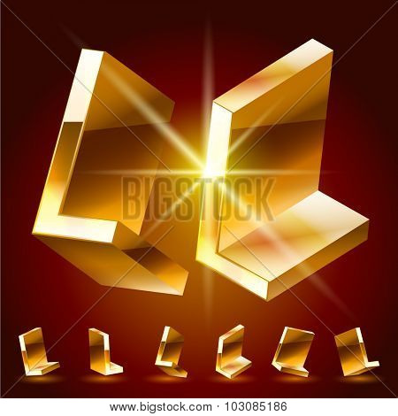 3D vector deluxe alphabet of randomly rotated thin golden symbols. All symbols in set have 8 random points of view. Letter L
