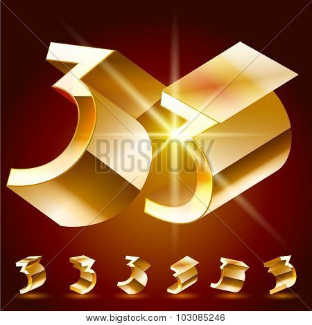 3D vector deluxe alphabet of randomly rotated thin golden symbols. All symbols in set have 8 random points of view. Number 3