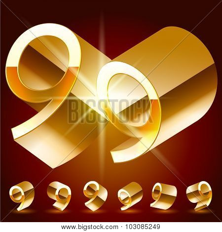 3D vector deluxe alphabet of randomly rotated thin golden symbols. All symbols in set have 8 random points of view. Number 9