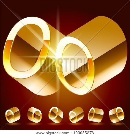 3D vector deluxe alphabet of randomly rotated thin golden symbols. All symbols in set have 8 random points of view. Number 0