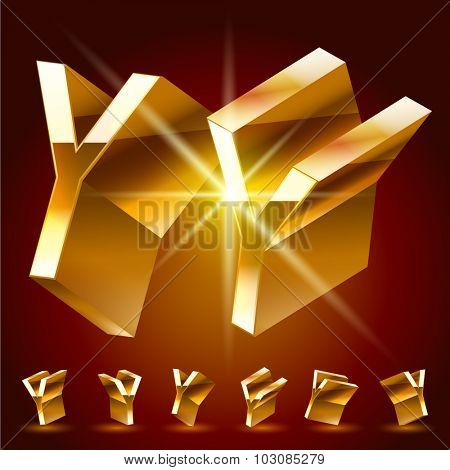 3D vector deluxe alphabet of randomly rotated thin golden symbols. All symbols in set have 8 random points of view. Letter Y