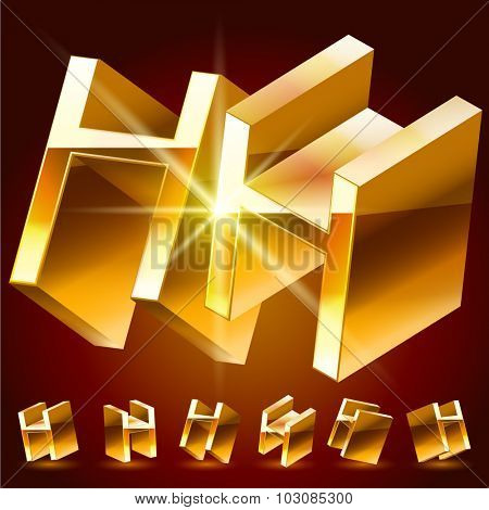 3D vector deluxe alphabet of randomly rotated thin golden symbols. All symbols in set have 8 random points of view. Letter H