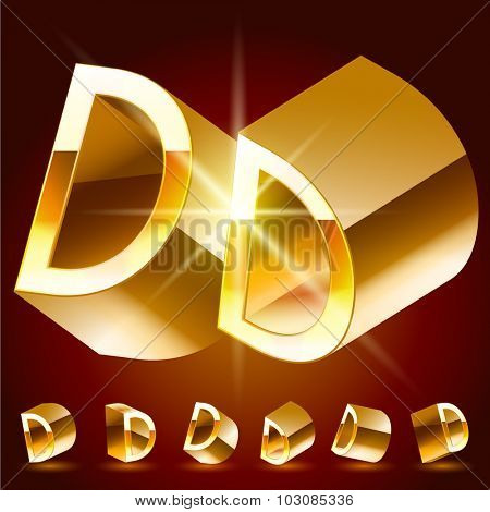 3D vector deluxe alphabet of randomly rotated thin golden symbols. All symbols in set have 8 random points of view. Letter D